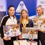 Empfang WKF Weltmeisterschaft 2017 Karate Vorarlberg Marijana Maksimovic Hanna Devigili Patricia Bahledova Olympiazentrum Vorarlberg Spitzensport Bernadette Mennel
