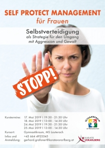 SPM Plakat SELF PROTECT MANAGEMENT Mai 2019 Lauterach KARATE HOFSTEIG KARATE VORARLBERG