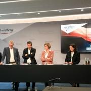 Pressekonferenz Sportreferat Vorarlberg KARATE VORARLBERG Peter Karg Michael Zangerl Barbara Schöbi-Fink Gabi Madlener