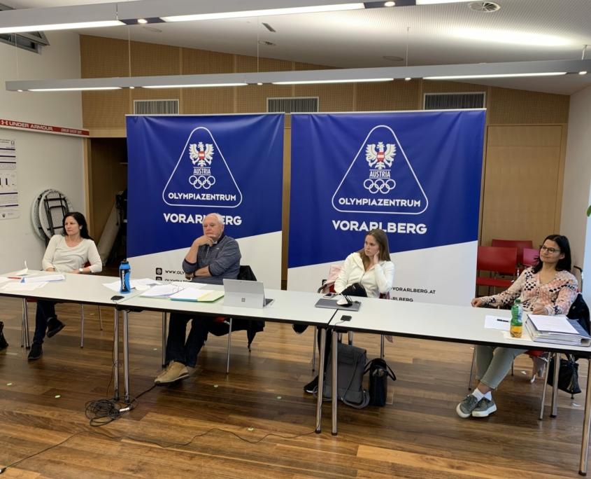 Generalversammlung KARATE VORARLBERG 2021 Olympiazentrum Vorarlberg Bernadette Kleinfercher Peter Karg Julia Gantner Angelika Salzgeber Gerhard Grafoner